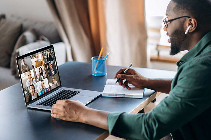 Remote worker on video call at home